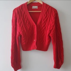 URBAN OUTFITTERS Red Cable Knit Cardigan Sweater,S